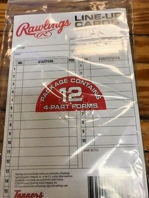 Rawlings  Line-Up Cards Baseball Softball 4 Part forms Set of 12 NEW IN PACK