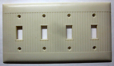 Vintage Sierra ribs lines ivory color Bakelite 4 gang switch plate cover deco D4