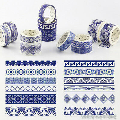 Washi Masking Tape Blue and White China Porcelain DIY Adhesive Tapes Crafts