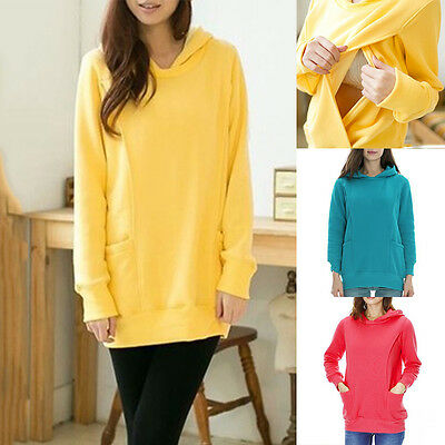 Women Long Sleeve Maternity Nursing Sweatshirt Hooded Tops Ladies Sweater Hoody