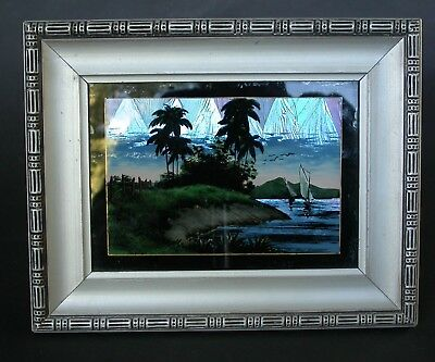 ANTIQUE BUTTERFLY WING PAINTING IN ORIGINAL ART DECO FRAME ZITRIN RIO BRASIL 20s