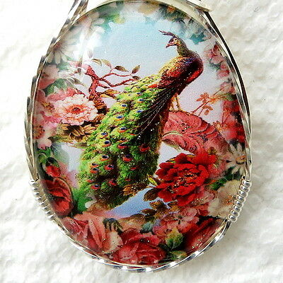 Peacock Glitter Glass Cabochon Cameo Pendant .925 Sterling Silver Jewelry Pink