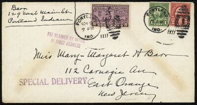US E15+ on 1937 spec del cover w/ltr & Portland Ind pmk, fee claimed & enclosure