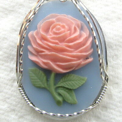Pink Rose Cameo Pendant .925 Sterling Silver Jewelry Blue Resin