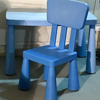 MAMMUT Kid's Children's Blue Table & Chair by The IKEA Systems
