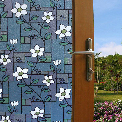 Static Cling Frosted Stained Flower Glass Window Film Sticker Home Decor Healthy