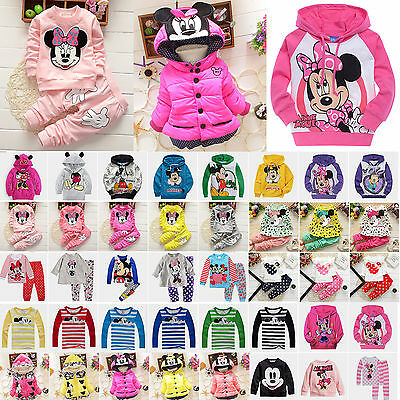 Kids Baby Girls Boy Disney Minnie Hooded Sweatshirt T-shirt Top Pants Outfit Set