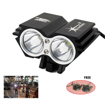 2x Cree T6 LED Bicycle Bike Front Head Light lamp 5000LM 4 Modes+6400mA Battery