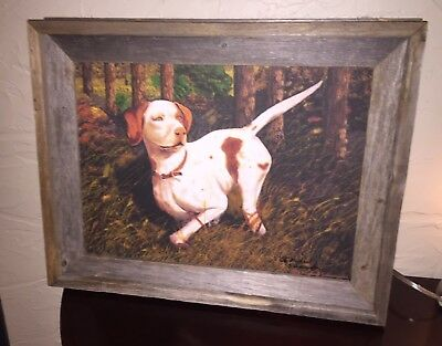 Beautiful Pair Of Pointer Hunting Dogs Watercolor Paintings - 19L X 14 Height