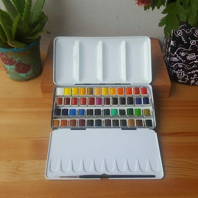 Sennelier 48 Half Pan + Brush Classic Metal Box Watercolour Paint Set
