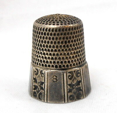 Antique SIMONS Sterling Silver THIMBLE size 8 with Floral Decoration