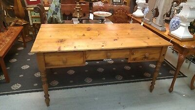 Beautiful Vintage Large Pine Three Drawer Desk
