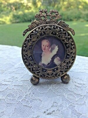 Antique Brass Miniature Round Picture Frame-Filigree French Bow Top