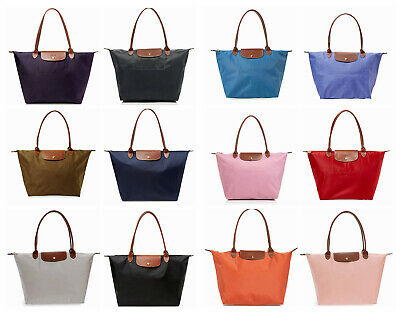 NEW Longchamp Le Pliage Large Nylon Tote Beige Khaki Pink Red Blue Curry Green +