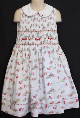 VINTAGE 1970's ~ Girls White Cotton Cherry Print Dress w Smocked Design 5
