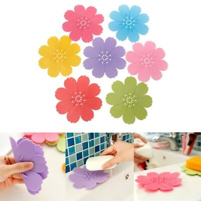 Silicone Bathroom Shower Soap Box Container Dish Storage Plate Tray Holder Case