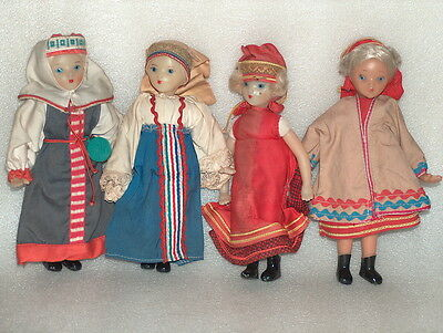 4 Vintage Plastic And Cloth Russian/soviet Dolls In Traditional Costumes,1960-70