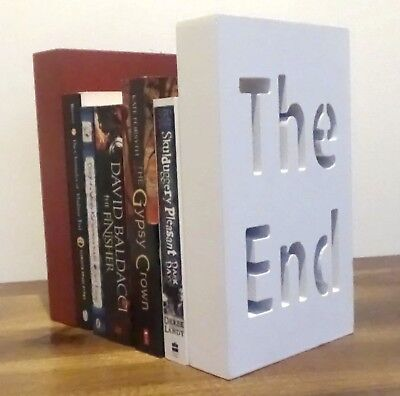 Bookends Book Ends Home Modern wood wooden Decor Library Shelf Red White 24x15cm