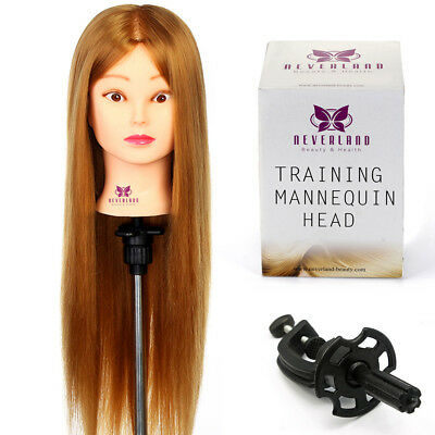 """26"""" 30% Real Human Hair Hairdressing Styling Training Head Practice Mannequin UK"""