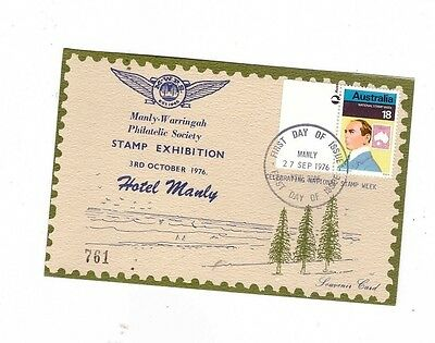 Australia 1976 18c MANY NSW STAMP EXHIBITION Cover, cds MANLY NSW