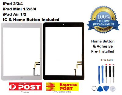 For iPad 2,3,4,air,mini 1 2 Touch Screen Digitizer Replacement Home Button