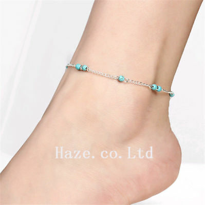 1pc Turquoise Beads Silver Chain Anklet Bracelet Foot Beach Feet Jewelry