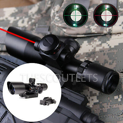 2.5-10x40 Tactical AO Illuminated Rifle Scope w/ Red Green Mil-dot Laser Combo