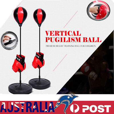 Kids Punching Bag Boxing SpeedBall Speed Training Stand with Gloves Pump Set AU