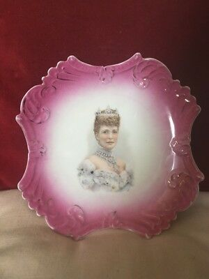 Queen Mary a Lovely Portrait Plate With Shaped Pink Colour Border,Early 20th C