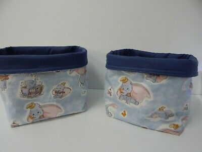 Fabric Baskets x 2 Classic Dumbo Handmade - Nursery Nappy Holders - Great Gift!