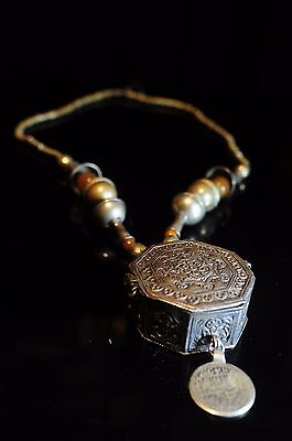 Antique 19Th Century Persian Coin, Amber Bead Silver Box Necklace
