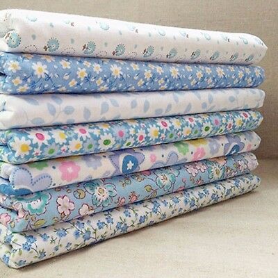 Lot 7pcs Tissus Coton Bleu Fleuri Patchwork Coupons Assorti Carreaux DIY Couture