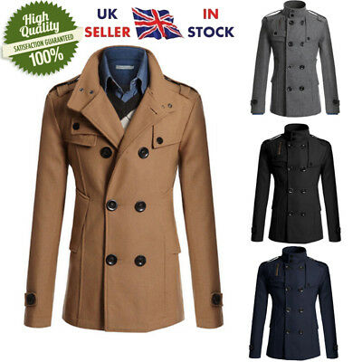 Men's Gent Fit Trench Coat Double Breasted Formal Outerwear Jacket Overcoat NEW
