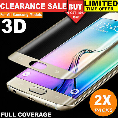 2x Full Coverage 3D Tempered Glass Screen Protector for Samsung Galaxy S7 S6 S8