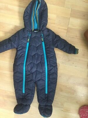 TED BAKER BABY BOYS WINTER SNOWSUIT 0-3 MONTHS NAVY BLUE, FLEECE LINED 2of2