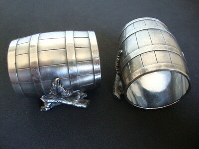 Napkin Ring Antique 2 Barrel Napkin Ring Silver Plate*-