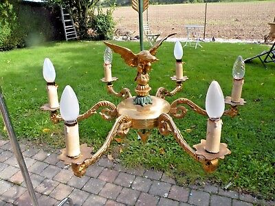 Magnificent bronze chandelier in French Empire style. 6 lights Rare antique