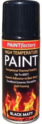 Heat Resistant Matt Black Spray Paint High Temperature Self Priming 200ml New