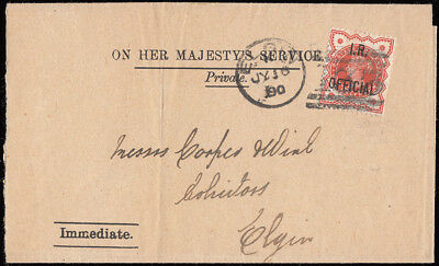 SGO13 1890 1/2d. I.R. Official on OHMS wrapper, used locally in Elgin. 321348
