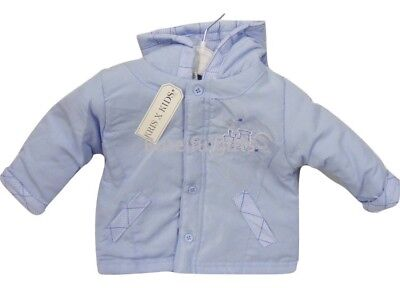 Baby Boys Sky Blue Padded Hooded Jacket 0-3 6-9 Months