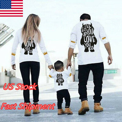 US Family Matching Outfits T-shirt Father Daughter DADDY MOMMY GIRL Boys Tops