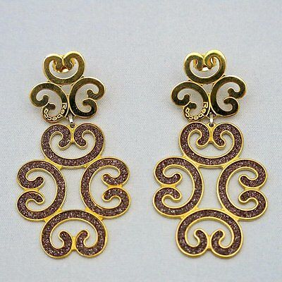 Rebecca Large Earrings from Louis XIV Collection in Rose Gold Plated Bronze