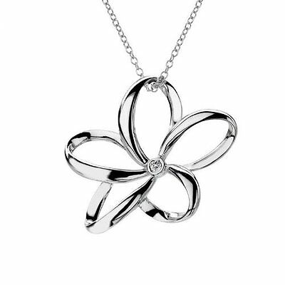 Hot Diamonds Plumeria Open Petal Flower Silver Pendant