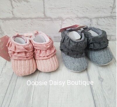 ☆ Baby Girls Gorgeous Knitted Frill Top Boots Pink & Grey Colours ☆