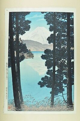 1935 Fine Old Japan Japanese Shiro Kasamatsu Woodblock Print View Mt Fuji Art