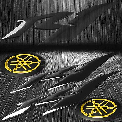 "6"" Black ABS 3D Logo Emblem+2"" Fairing/Fender Badge Sticker for YZF-R1/R1S Gold"