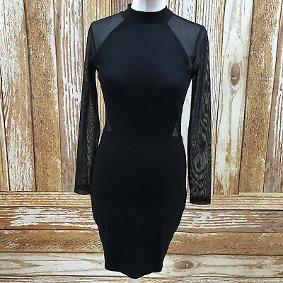 NEW FRENCH CONNECTION Black Bodycon Dress Sheer Sleeves Party Size UK 10 25394