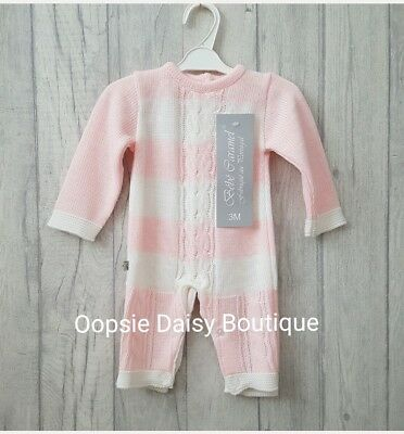☆ Baby Girls Gorgeous Spanish Pink Striped Cable Knitted Romper ☆
