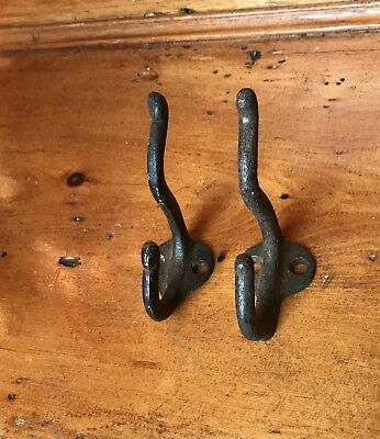 Antique Pair Of Reclaimed Metal Coat Hooks