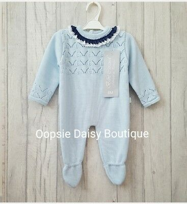 ☆ Babys Gorgeous Spanish Blue Knitted Romper with Lace Frill Collar ☆